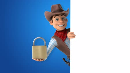 Cartoon cowboy character with a padlock