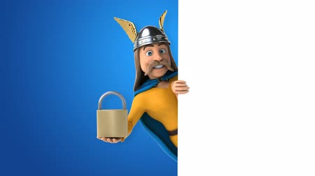 Cartoon gaul character with a padlock