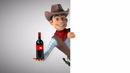 Cartoon cowboy character with a wine bottle