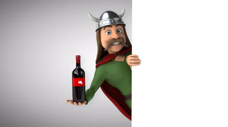 kelt : Cartoon gaul character with a wine bottle Stok Video