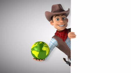 Cartoon cowboy character with a globe