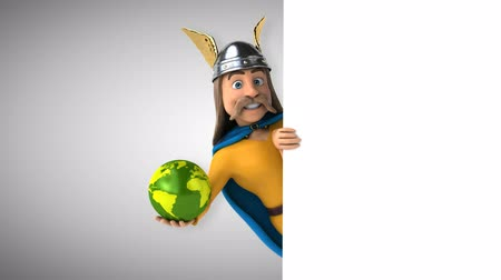 Cartoon gaul character with a globe