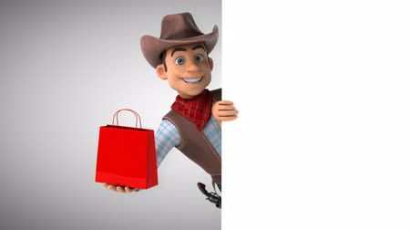 Cartoon cowboy character with a shopping bag