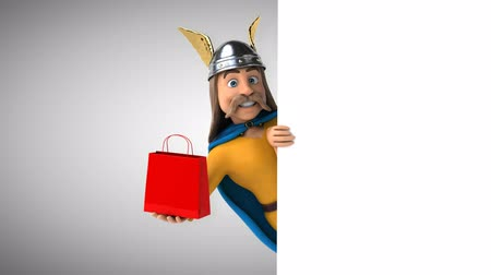 Cartoon gaul character with a shopping bag