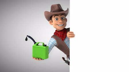 herder : Cartoon cowboy character with a jerry can Stock Footage