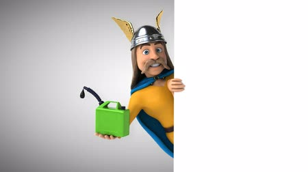 Cartoon gaul character with a jerry can Стоковые видеозаписи