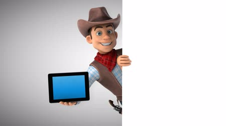Cartoon cowboy character with a digital tablet Стоковые видеозаписи