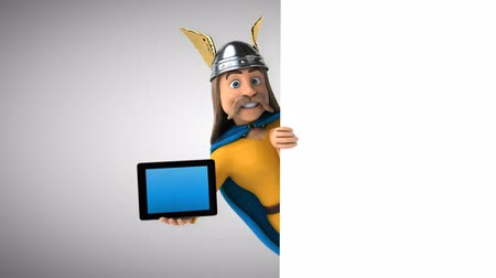 Gallische stripfiguur met een digitale tablet Stockvideo