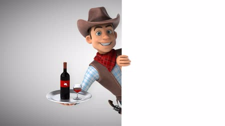 Cartoon cowboy character with wine tray