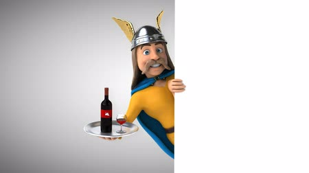 Cartoon gaul character with wine tray