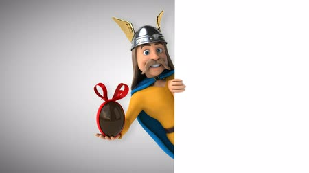 Cartoon gaul character with chocolate egg Стоковые видеозаписи