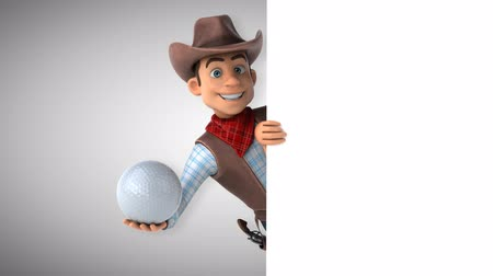 Cartoon cowboy karakter met een golfbal