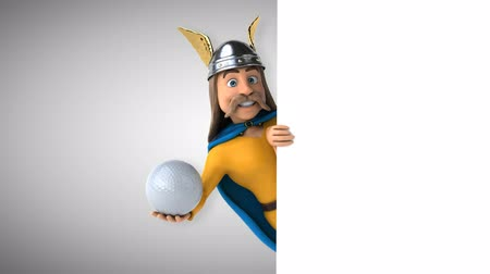 Cartoon gaul karakter met een golfbal