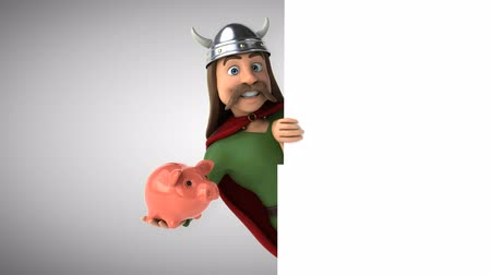 harcos : Cartoon gaul character with a piggy bank