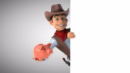Cartoon cowboy character with a piggy bank