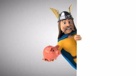 Cartoon gaul character with a piggy bank