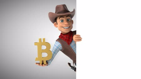 Cartoon cowboy karakter met bitcoin symbool Stockvideo
