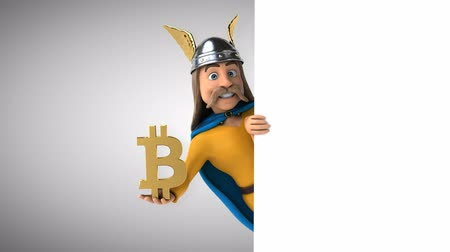 Cartoon gaul character with bitcoin symbol