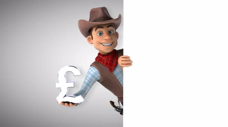 Cartoon cowboy character with pound symbol Стоковые видеозаписи