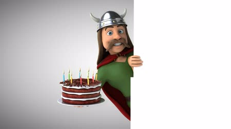 Cartoon gaul character with birthday cake Стоковые видеозаписи