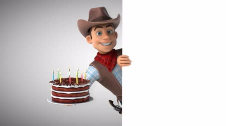 Cartoon cowboy character with birthday cake