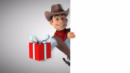 Cartoon cowboy karakter met geschenkdoos Stockvideo