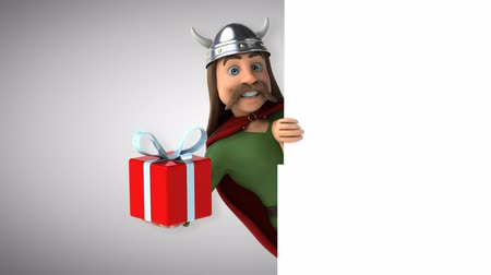 kelt : Cartoon gaul character with gift box