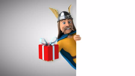 Cartoon gaul character with gift box