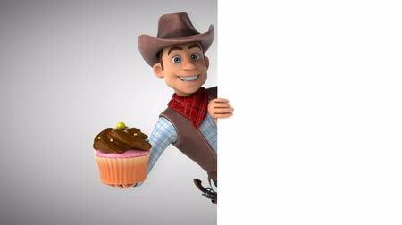 Cartoon cowboy karakter met cupcake