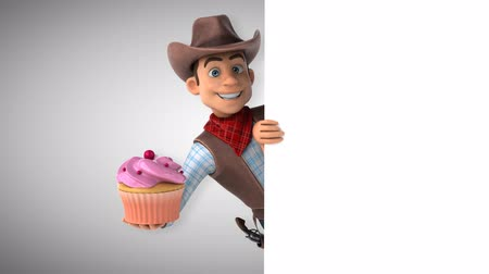 Cartoon cowboy character with cupcake