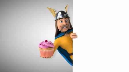 Cartoon gaul character with cupcake
