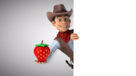 herder : Cartoon cowboy character with strawberry Stock Footage