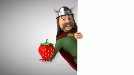 Cartoon gaul character with strawberry
