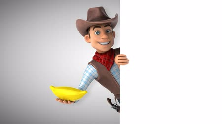 Cartoon cowboykarakter met banaan