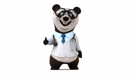 Cartoon panda in uniform arts Stockvideo