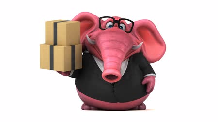 white elephant : Cartoon elephant in formal attire with boxes Stock Footage