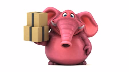 white elephant : Cartoon elephant carrying boxes Stock Footage