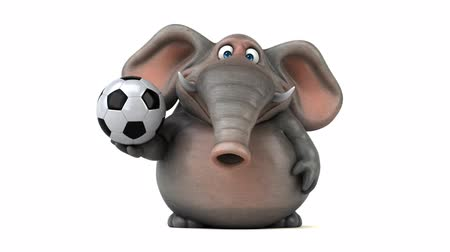 tusk : Cartoon elephant with a soccer ball