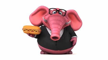 white elephant : Cartoon elephant in formal attire with hotdog Stock Footage