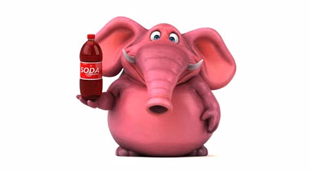 white elephant : Cartoon elephant with soda