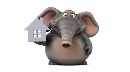 white elephant : Cartoon elephant with house symbol