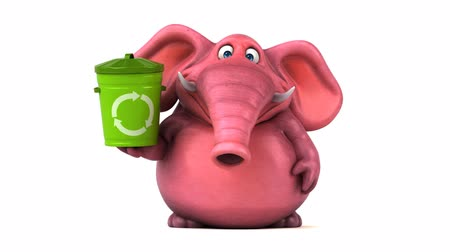 white elephant : Cartoon elephant with recycle bin