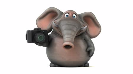 white elephant : Cartoon elephant with camera