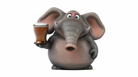 white elephant : Cartoon elephant with beer