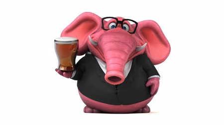 pracodawca : Cartoon elephant in formal attire with beer Wideo
