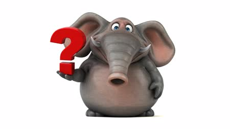 ponto de interrogação : Cartoon elephant with question mark