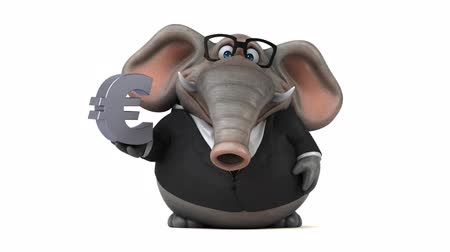 külföldi : Cartoon elephant in formal attire with euro symbol