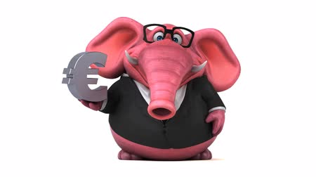 white elephant : Cartoon elephant in formal attire with euro symbol