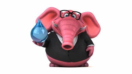white elephant : Cartoon elephant in formal attire with water droplet Stock Footage