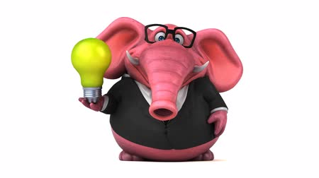 white elephant : Cartoon elephant in formal attire with lightbulb